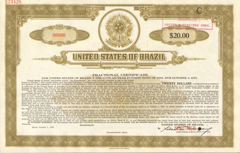 United States of Brazil Estados Unidos do Brazil $20 specimen stock certificate