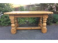 Chunky Plank Top Pine Farmhouse Kitchen Table