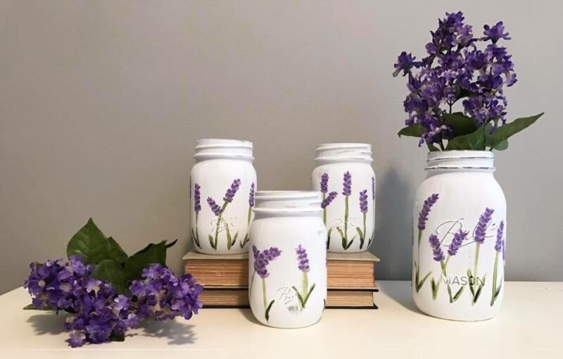Hand Painted Lavender Mason Jars