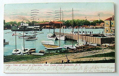 1906 POSTCARD SAIL BOATS NEAR THE YACHT CLUB ROCHESTER NEW YORK RIVER VIEW #1116