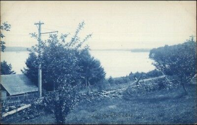 Monmouth Me Lake Cobbosseecontee Cyanotype C1905 Real Photo Postcard