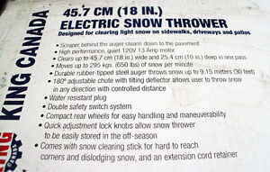 King Canada Electric Snow Thrower Cornwall Ontario image 2