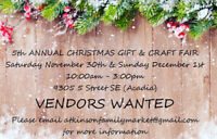 VENDORS WANTED 5th Annual Christmas Gift and Craft Fair