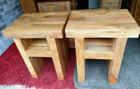 Oak Furniture Land Mantis Solid Mango Side Tables/ Lamp Tables