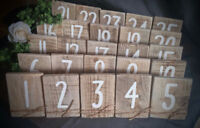WEDDING TABLE NUMBERS AND SEATING CHARTS