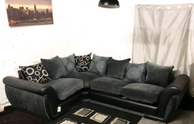 ° Ex display black and grey corner sofa bed