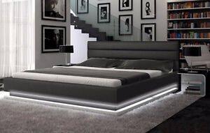 Colby queen bed, black leather and LED lighting