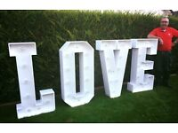 Giant led light up LOVE LETTERS for hire for weddings and engagements