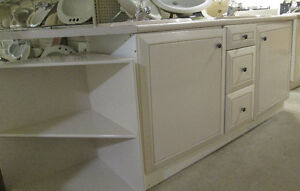 White Bathroom Vanity with Double Sink Cutouts & Corner Unit