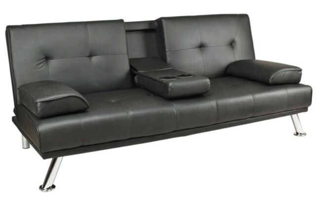 Item 1 Sofa Bed Black Faux Leather Click Clack Double Settee 2 3 Seater Modern Couch