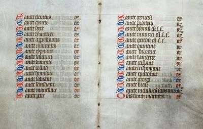 STUNDENBUCH BLATT PERGAMENT FRANKREICH KALENDARIUM HEILIGE UM 1420