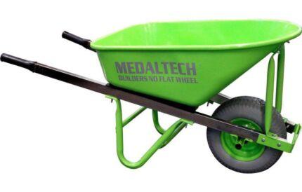 100L builders heavy duty wheelbarrow steel tray no flat wide tyre  Miller Liverpool Area Preview