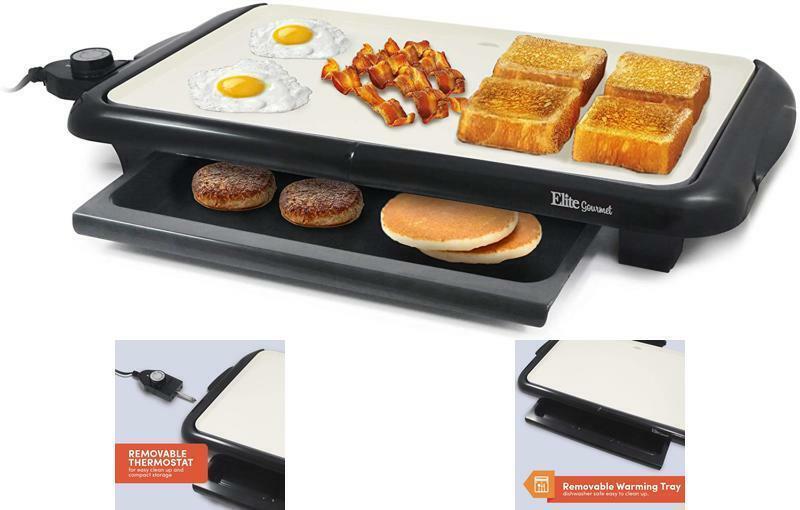 Non Stick Big Ceramic Griddle Electric BBQ Grill Eggs Bacon