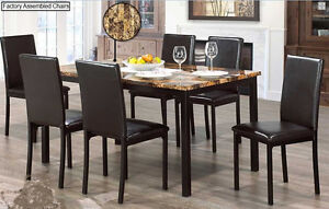 BRAND NEW MARBLE TOP 5 or 7 Pcs DINNING SET/STRONG METAL FRAME