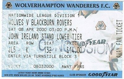 Ticket - Wolverhampton Wanderers v Blackburn Rovers 08.04.00