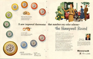 1953 large 2-page color magazine ad for Honeywell Thermostats