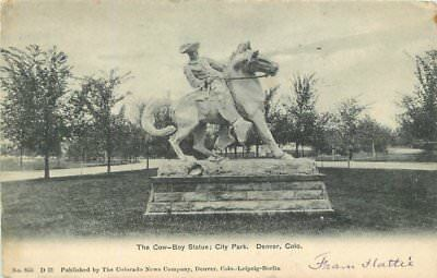 City Park Cowboy Statue 1905 DENVER COLORADO News Company undivided 3152 - Party City News