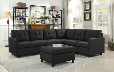 7 Pcs Sectional Modern Sofa Set Couch Microsuede Reversible Chaise Ottoman USA ()