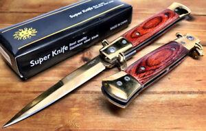 Assisted Open Blue Chrome Gangster Stiletto Dagger Pocket Knife