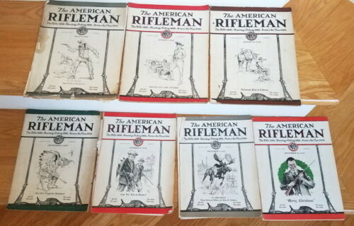 1926 American Rifleman, 7 issues, hunting, WW1 stories, firearms, reloading
