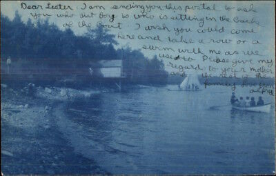 Monmouth Me Sailing Boating Beach Cyanotype C1905 Real Photo Postcard