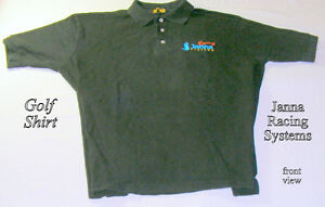 Jet Black Golf Shirt, L, marked Janna Racing Systems, men's