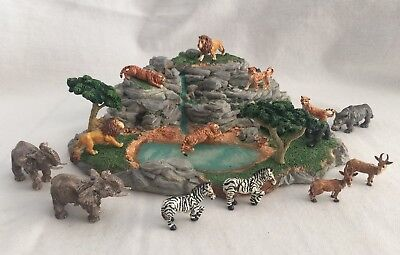 Used, Pewter Animals Safari Miniature Diorama Enesco 1990 World Wildlife Fund for sale  Portsmouth