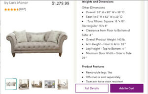 Tufted and Nailed Sofa (Off white )
