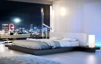 Modern Platform Bed in White or Grey Leather!  FREE Shipping!