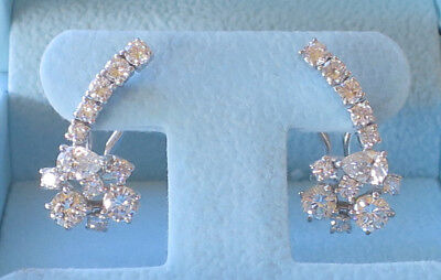2.32 carat Earrings Round & pear Diamonds, F-G SI1 clarity 14k White Gold