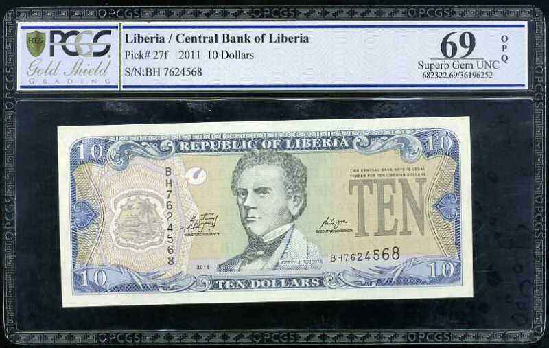 LIBERIA 10 DOLLARS 2011 P 27 SUPERB GEM UNC PCGS 69 OPQ