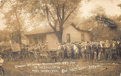 Monmouth Il Crowd At Home Of Murdered Family Wagons Real Photo Rppc Postcard