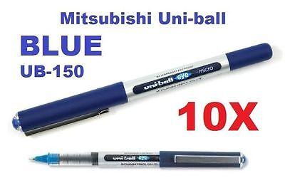 10x Blue Ub-150 Uni-ball Gel Pen Uniball Eye Micro Box Made In Japan Mitsubishi