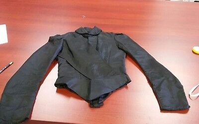 Boned Bodice Top Blouse Jacket Antique 1880s Black Silk Handmade!