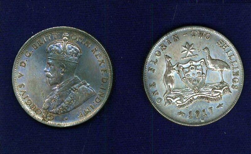 AUSTRALIA GEORGE V  1917-M  1 FLORIN  SILVER COIN  XF