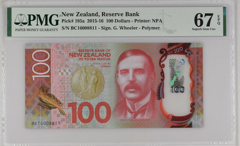NEW ZEALAND 100 DOLLARS 2016 P 195 POLYMER SUPERB GEM UNC PMG 67 EPQ NLB