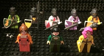 Custom Lego   Bricks   5 Knight Statues And 3 Ladies Lot  Series S3  New