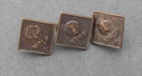 Lot of 3 Vintage  BSA  Cub Scout Boy Scout Uniform Pins  Bobcat, Bear, Wolf