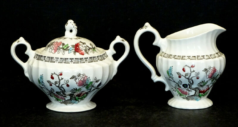Vintage MYOTT Staffordshire England INDIAN TREE Sugar Bowl & Creamer Set