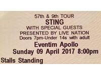 4 x Sting tickets URGENT sale - Sun, 9th April