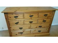SOLID WARDROBE WITH DRAWERS, CHEST OF DRAWERS AND A DOUBLE BED