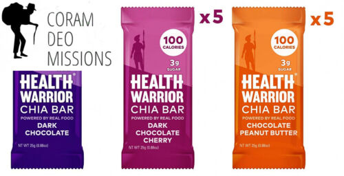 HEALTH WARRIOR Chia Bars, Chocolate Variety Pack, Gluten Free, 25g bars, 15...