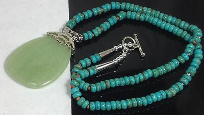 "Gorgeous Jade pendant/block turquoise disc bead  necklace/ 21""/(g134c-w2)"