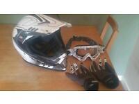 Viper motorcross helmet, Oakley goggles and alpinestars gloves mx bike white and black