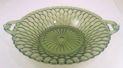 Green Honeycomb Round 2 Handled Bowl~Vegetable Dish~Indiana