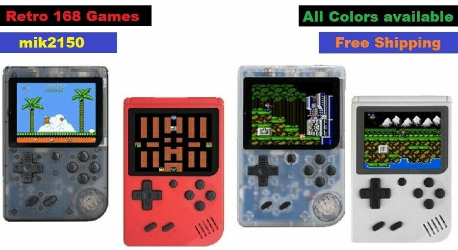 Retro Handheld 168 Games in 1 TV Console For Built-in Games Portable Black Clear