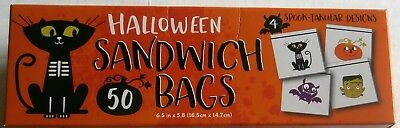 HALLOWEEN SANDWICH BAGS  50 ct  Spook-takular Designs  6.5