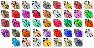 Suspender and Bow Tie Adults 42 Colors Combo Wedding Formal Wear Accessories](Tie And Suspenders)