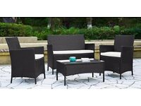 Rattan Garden Furniture 2 seater sofa and 2 Armchairs with a coffee table in Black or Brown Bargain