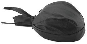 Black Leather Style Do Rag Doo Rag Skull Cap Head Wrap Biker Cap Hat